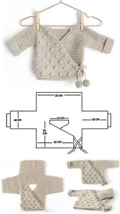 Baby Sweater Knitting Pattern, Baby Knitting Patterns, Baby Patterns, Crochet Patterns, Baby Outfits, Knitting For Kids, Knitting Projects, Free Knitting, Crochet Baby Clothes