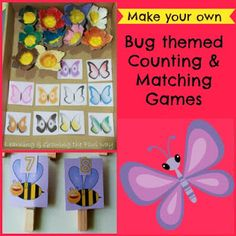 Spring Bee and Butterfly Trays for Colors and Counting #prek #prekmath