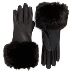 Women's Ted Baker London Leather Gloves With Faux Fur Cuff (175 CAD) ❤ liked on Polyvore featuring accessories, gloves, luva, black, ted baker, leather gloves, faux fur gloves and ted baker gloves