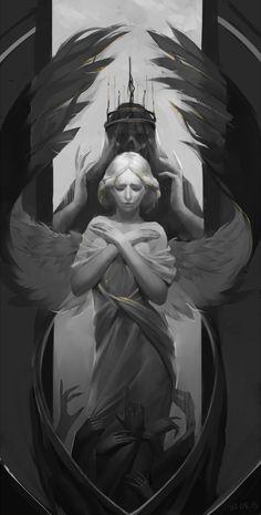 "Stuff Kookri Likes : adedrizils-shrine: "" Angel by GreenBreen "" Ange Demon, Demon Art, Dark Fantasy Art, Dark Art, Engel Illustration, Angel Drawing, Angel Sketch, Demon Tattoo, Samurai Tattoo"
