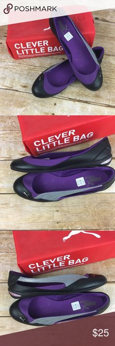 """Puma Ballet Flats """"Sport Lifestyle"""" Purple, Black Puma Ballet Flats """"Sport Lifestyle"""" Purple, Silver and Black. Worn only once and in Like New condition. Comes with bag/box.  Rubber sole. Puma Shoes Flats & Loafers"""