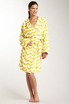 Thro Home Chevron Print Hooded Microplush Short Robe - Lemon Curry -- robes for my bridesmaids and I on the big day?! So cute.
