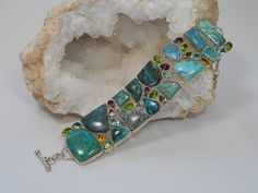 Chrysicolla and Turquoise Bracelet with Blue Topaz and Peridot