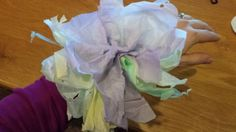 The corsage my son made me for Mother's Day! tissue paper and toilet paper roll