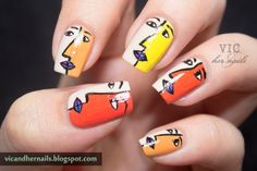 15 Picasso-style nails that will make your lover mad about the art you have hidden Picasso Nails, Picasso Art, Ongles Funky, Cute Nails, Pretty Nails, Picasso Style, Hidden Art, Funky Nail Art, Nail Length