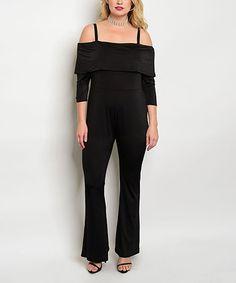 Loving this Black Off-Shoulder Jumpsuit - Plus on #zulily! #zulilyfinds