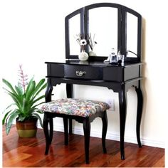 Queen Anne Style Cherry Finish Wood Vanity Set - Table, Bench & Mirror $165.50 @Amazon