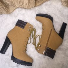"""Wheat Lug-Sole Heeled Boots! These.Are.Great. Perfect in any season, any outfit, any time. Man-made/Leather material. Just under 5"""" heel. Platform for comfort. Zipper side for easy access, lace up front. True to size. New in box. Jennifer Lopez Shoes Heeled Boots"""