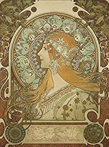 Amazon.com: Zodiac (on silk) Vintage Poster (artist: Mucha, Alphonse) France c. 1896 (24x36 Collectible Giclee Gallery Print, Wall Decor Travel Poster): Posters & Prints
