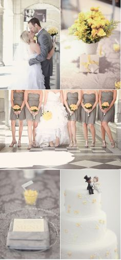 everything about the middle picture... shape of the dress, the frills, the blingy belt, the gray bridesmaid dresses... loooveeee