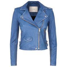 IRO Ashville Biker Jacket ($1,080) ❤ liked on Polyvore featuring outerwear, jackets, coats, biker style leather jacket, leather biker jacket, blue moto jacket, motorcycle jacket and blue jackets