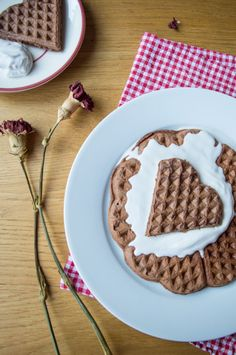 Light, crispy-on-the-outside, fluffy-on-the-inside chocolate oat waffles recipe with whipped coconut cream! Gluten free, vegan, low fodmap and heart healthy