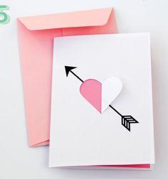 DIY Valentine's day heart and arrow card / Egyszerű nyomtatható Valentin-napi képeslapok (és boríték) / Mindy - creative craft ideas for everyday
