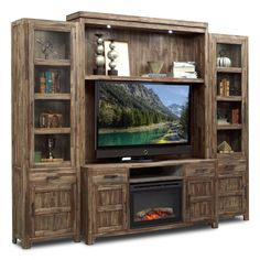 entertainment wall unit with traditional fireplace Bedroom Tv Stand, Tv In Bedroom, Bedroom Small, Master Bedroom, Entertainment Wall Units, Entertainment Furniture, Tv Stand Ideas For Small Spaces, Flat Screen Tv Stand, Swivel Tv Stand