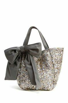 Silver sequin bow purse
