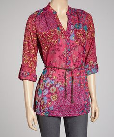 Take a look at this Hot Pink Floral Tunic by Magazine Clothing on #zulily today!