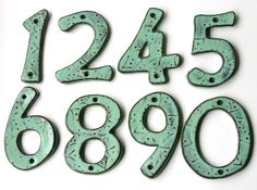 Outdoor Custom House Numbers or Letters Aqua by BackBayPottery,