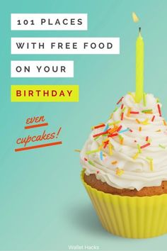 Birthdays are awesome! Heres a list of 101 places that will give you something free if its your birthday. No one should have to pay for their meal when its their birthday! (and if you have a friend nearing a birthday, be a pal and share this with them! Free On Your Birthday, Free Birthday Food, Birthday Freebies, Birthday Rewards, Birthday Coupons, Birthday Surprises, Birthday Stuff, Card Birthday, Birthday Bash