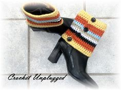 Crocheted Boot-covers - Anklewarmers - Spats - Striped ankle spatterdash - Gaiters - Ready-to-Ship via Etsy: CrochetUnplugged Shop