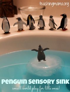 Penguin Sensory Sink -- Fun small world play for little ones! And it's super easy to set up! Sensory Bins, Sensory Activities, Sensory Play, Preschool Activities, Sensory Table, Winter Fun, Winter Theme, Reggio Emilia, Winter Activities For Kids