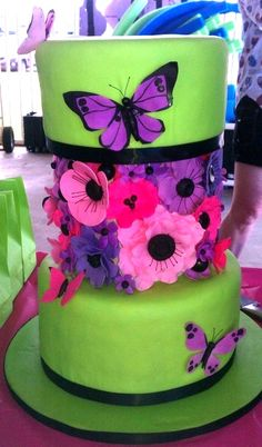 bright green butterfly cake