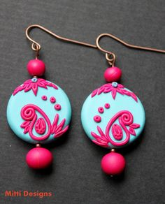 Blue Mango -  Indian Embroidery Inspired Hand Sculpted polymer clay Earrings. blue and hot pink