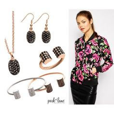 Rose Gold Passion by parklanejewelry on Polyvore featuring AX Paris, floral, rosegold, parklanejewelry and jetstone