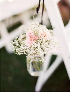Mason jar floral decor @weddingchicks