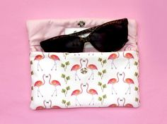 Your place to buy and sell all things handmade Flamingo Gifts, Flamingo Print, Winter Day, Pigment Ink, Uk Shop, Printing On Fabric, Sunglasses Case, How To Draw Hands, Pouch