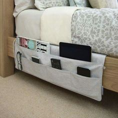 BEDSIDE POCKETS - such a great idea! Via The Container Store