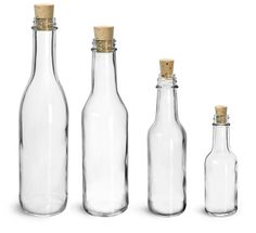 Clear Glass Woozy Bottles w/ Cork Stoppers from SKS Bottle and Packaging
