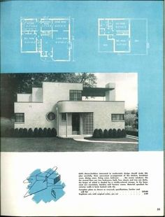 Modern art deco house plans - House and home design Casa Art Deco, Art Deco Home, Brick House Plans, Craftsman House Plans, Deco House, Estilo Art Deco, Vintage House Plans, Streamline Moderne, Wallpaper Aesthetic