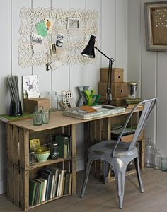 Wooden crate desk. Small Home Office. School Desk. Think Small. Inventive. Cheap