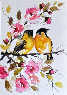 ORIGINAL Watercolor Greeting Card, Yellow Oriole, Colorful Watercolor Flowers, Handmade Card 4x6 inch