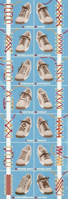 to School} Great how to graphic on how to tie shoe laces Cool ways to lace up your shoes! Cool ways to lace up your shoes! Ways To Lace Shoes, How To Tie Shoes, Your Shoes, How To Lace Converse, Men's Shoes, Shoes Men, Dress Shoes, Diy Lace Shoes, Zapatos Shoes