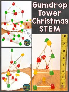 Gumdrop towers Christmas STEM challenge as well as 11 additional Christmas science experiments for the weeks or days before and after Christmas #gumdroptowers #STEM #Christmas #elementaryscience #scienceforkids #christmasforkids