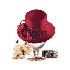 JB_redhat_roses.png ❤ liked on Polyvore featuring hats and red