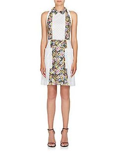 Mary Katrantzou Amblie Printed Eyelet Dress - White - Size 1