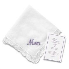 Mom Hanky with Lavender Embroidery Mother of the Bride Gifts