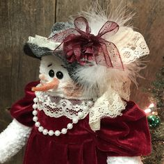 Your place to buy and sell all things handmade Wooden Christmas Crafts, Christmas Snowman, Christmas Wreaths, Snowman Decorations, Christmas Decorations, Crochet Snowman, Sock Crafts, Little Red Dress, Handmade Felt