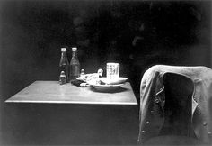"""Roy DeCarava //""""Ketchup Bottles, Table and Coat"""" ,1952"""