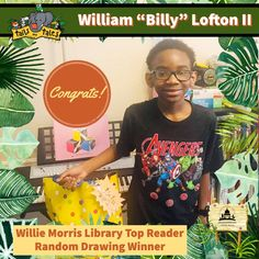 """#SUMMERREADING PROGRAM HIGHLIGHT: Congratulations to William """"Billy"""" Lofton II, the Top Reader at Willie Morris Library! Billy won new books and a Google prize pack, and is a random drawing winner of Funtime Skateland passes. Enjoy! 🥳 See who else has won at jhlibrary.org/srp21winners. #SummerReadingProgram #SRP #SRP2021 #TailsAndTales Summer Reading Program, New Books, Congratulations, Jackson, Drawings, Highlight, Mens Tops, Random, Google"""