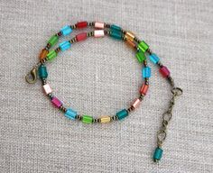 Boho anklet for her birthday gift colorful Easter gift