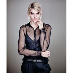 Bluse, transparent, gesmokt, leicht tailliert