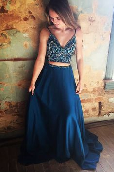 Sparkly Two Piece Navy Blue Beading Long Prom Dress Hot Evening Dress A-Line Deep Chiffon Evening Dresses Cheap by prom dresses, $198.00 USD