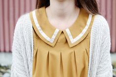 fashion, vintage, retro, style, collar, sailor, mustard, dress, cardigan
