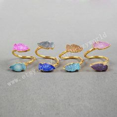 3&5Pcs Gold Plated Double Rainbow Agate Druzy Geode Adjustable Wrap Ring Oval Arrow Shield Shape Natural Druzy Ring Gemstone Jewelry G0326 by Druzyworld on Etsy
