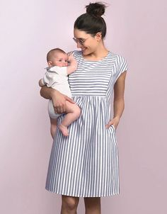 Effortlessly chic, our Cotton Stripe Maternity & Nursing Dress puts a feminine new spin on the nautical trend. cotton, this dress is gently elasticated at the back, with a self tie belt to define your empire waist. Maternity Dress Pattern, Maternity Sewing, Maternity Jacket, Maternity Nursing Dress, Maternity Outfits, Maternity Pictures, Indian Maternity Wear, Maternity Dresses Summer, Stylish Maternity