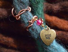 "#Valentine's Small ""Hug Me"" #DreadBead  #BeadsForBraids  by Cheyenne Le Hale -  NVCL3ARBVTT3RFLY  #woolies #ValentinesDreads #CandyHearts #CandyHeartJewelry #nuclearbutterfly"