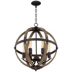 """Kimpton 6-Light 21"""" Wide Dark Bronze and Wood Orb Chandelier Over the table if don't do barrels in main area"""